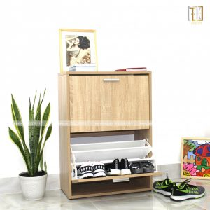 Tủ giày thông minh 2 tầng tay nắm inox TG07 gỗ MDF chống ẩm