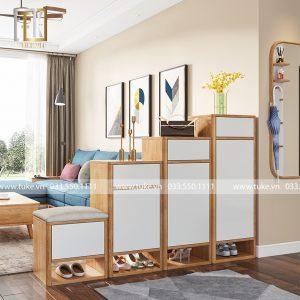 Bộ 4 tủ giày bậc thang màu trắng gỗ công nghiệp cao cấp TG11