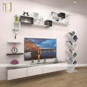Bộ kệ tivi ziczac treo tường gỗ công nghiệp MDF cao cấp KTV13
