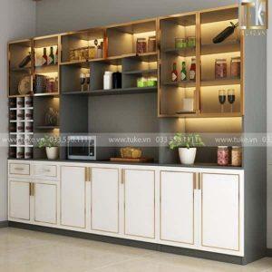 Tủ rượu tân cổ điển phòng khách gỗ MDF chống ẩm TR-10